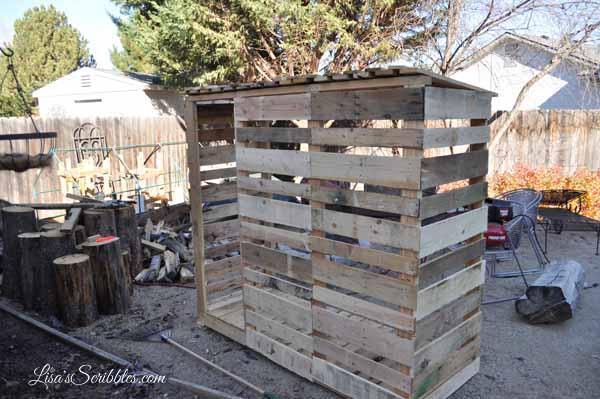 12. DIY Pallet Wood Shed