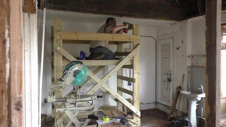 2. DIY Wooden Scaffolding Tower