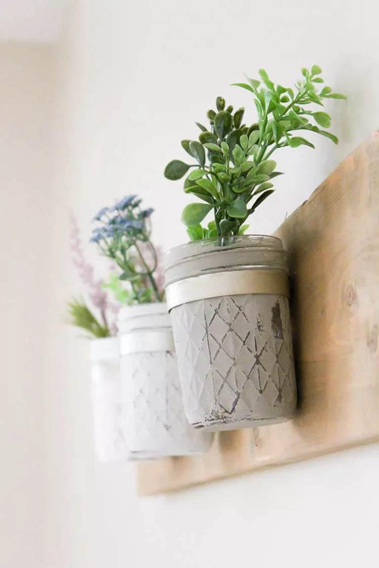 20. DIY Mason Jar Wall Planter