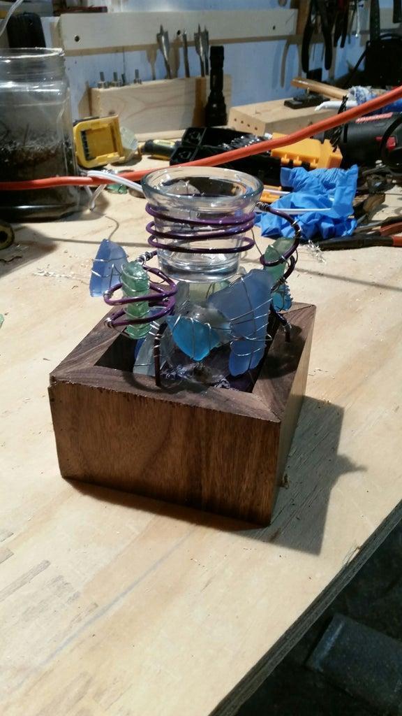 7. DIY Walnut Sea Glass Wax Cube Warmer