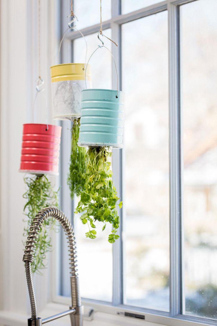 14. DIY Upcycled Hanging Herb Garden