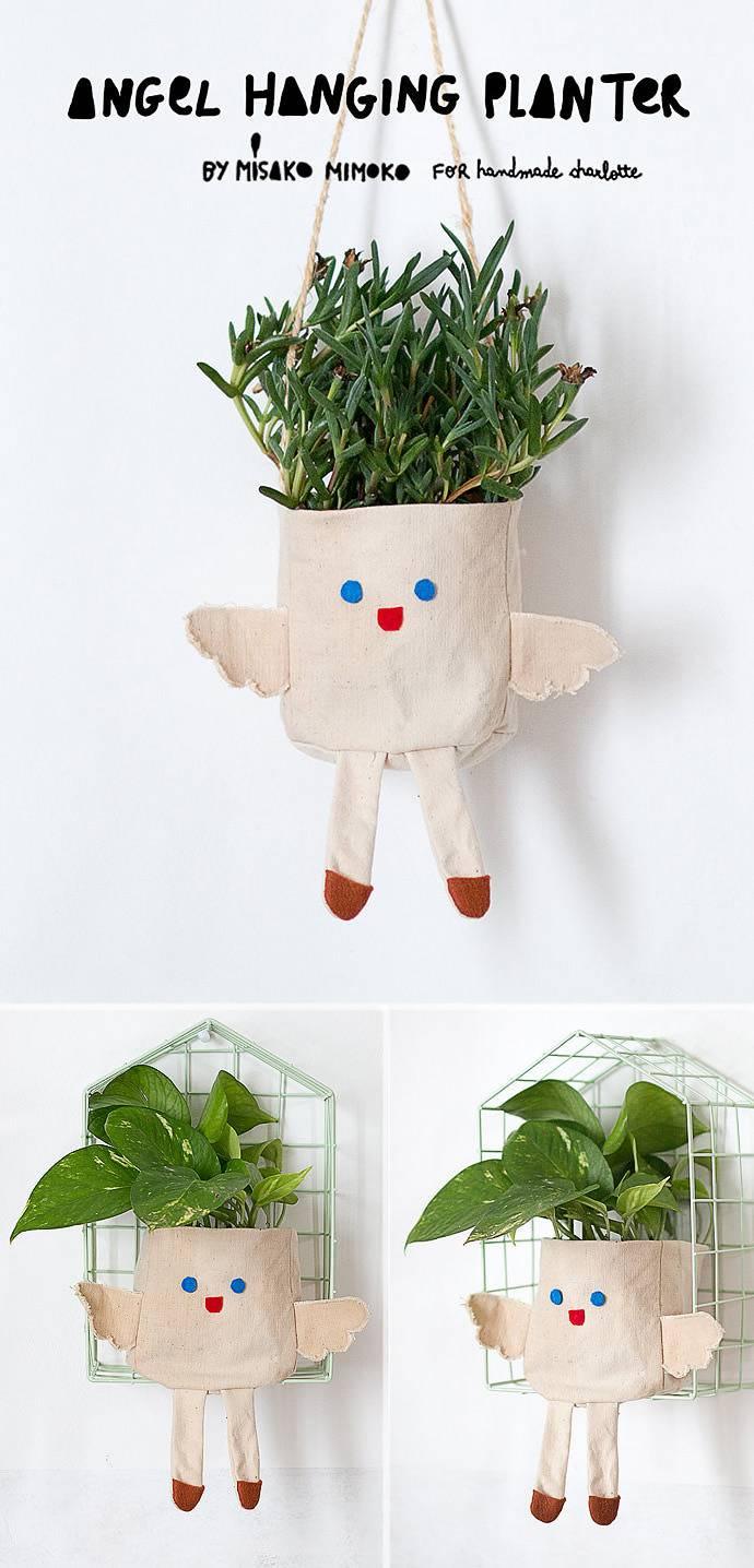 15. DIY Angel Hanging Planter