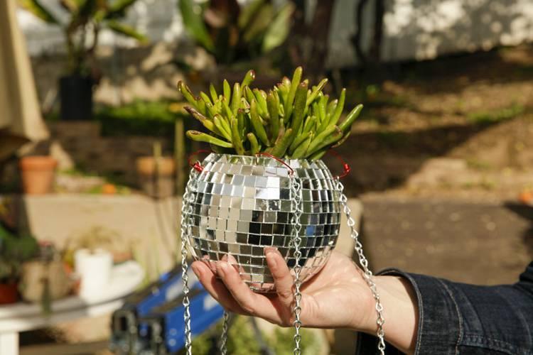 22. Disco Ball Hanging Planter