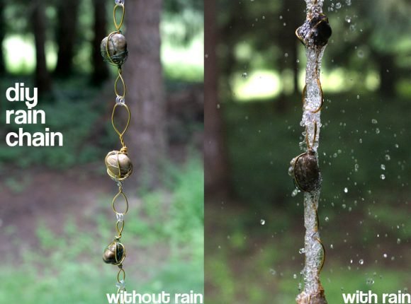 6. DIY Rain Chain From Wire-Wrapped Rock