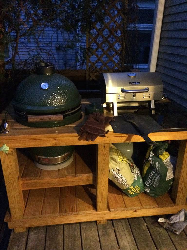 8. Big Green Egg And Gas Grill Table DIY