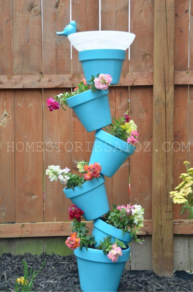 8. DIY Garden Planter And Bird Bath