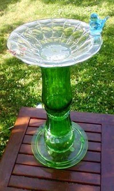 9. Recycled Glassware Bird Bath