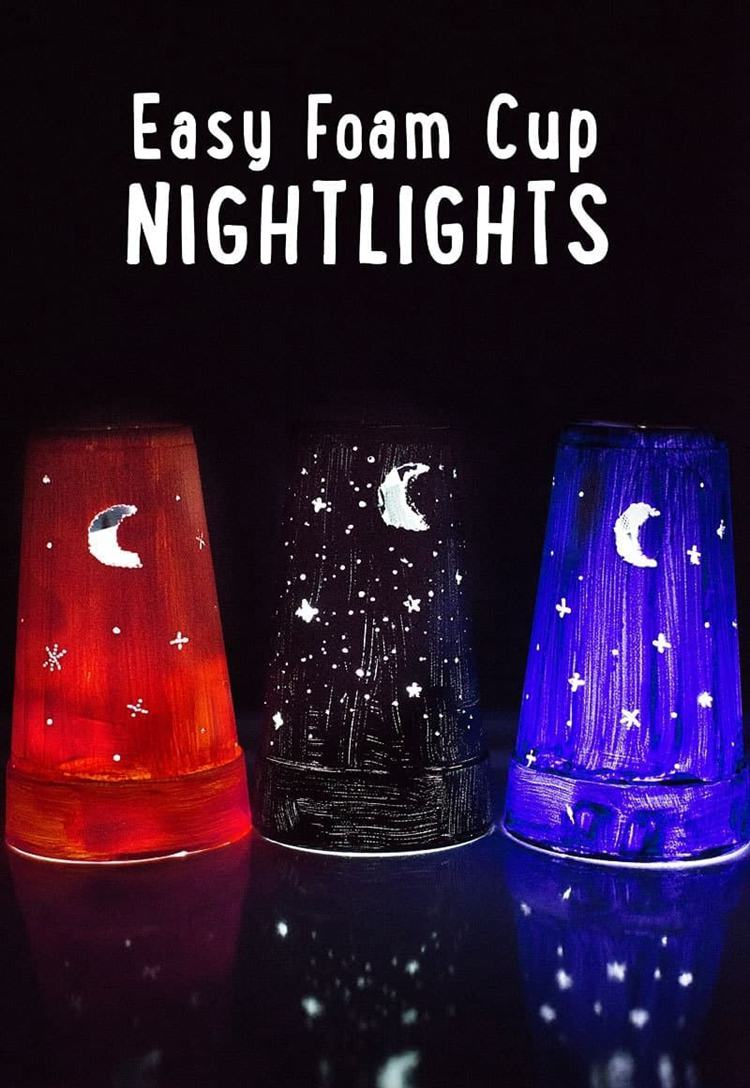 10. DIY Night Lights From A Cup