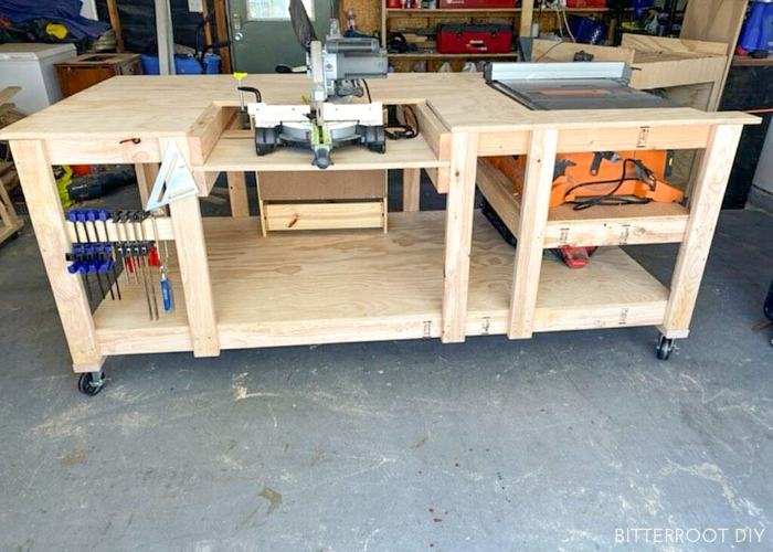 14. DIY Mobile Workbench With Table Saw