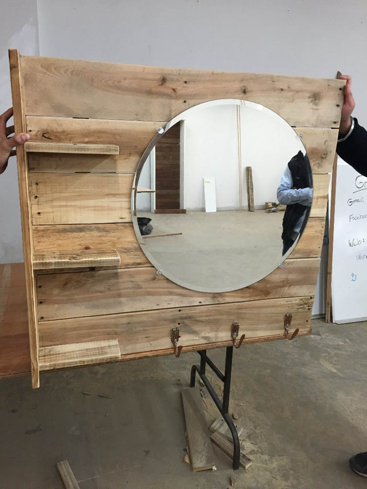 20. DIY Pallet Vanity With Shelves