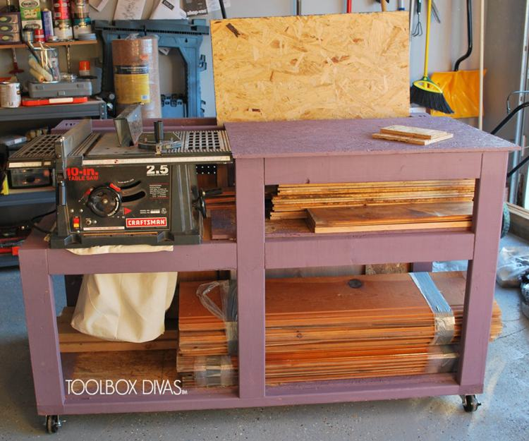 6. DIY Table Saw Workbench With Wood Storage