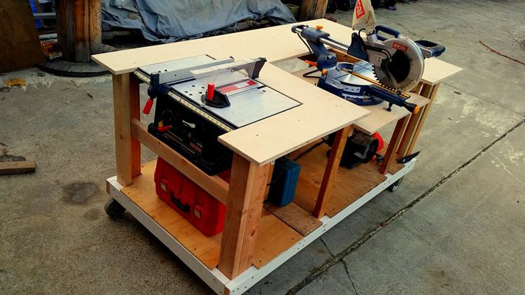 7. Mobile Workbench With Built In Miter Saw