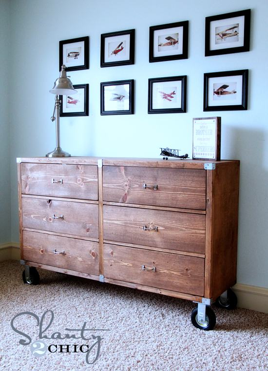 9. DIY Rolling Rustic Wood Dresser