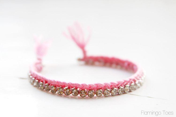 Braided Thread And Rhinestone Bracelet