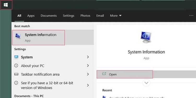 """Click the Start menu and type """"System Info."""""""